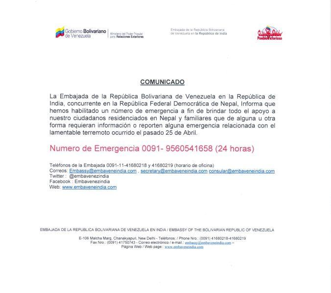 número de emergencia para venezolanos en Nepal