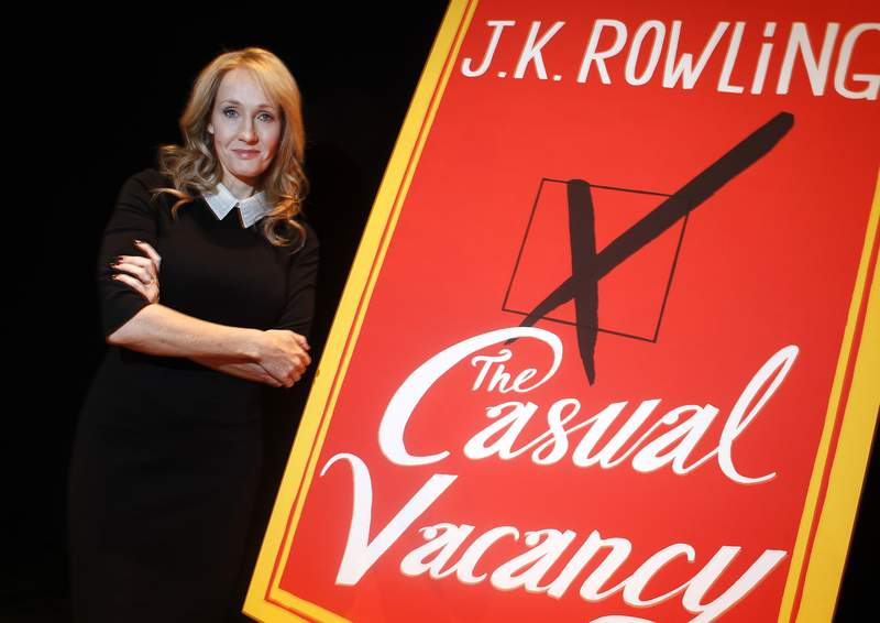 "Author J.K. Rowling poses for a portrait while publicizing her adult fiction book ""The Casual Vacancy"" at Lincoln Center in New York October 16, 2012. REUTERS/Carlo Allegri (UNITED STATES - Tags: ENTERTAINMENT PROFILE SOCIETY MEDIA PORTRAIT)"