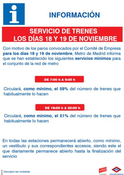 Huelga de Metro en Madrid 18 y 19 de Noviembre