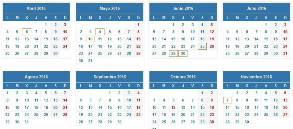 calendario de la Renta 2015