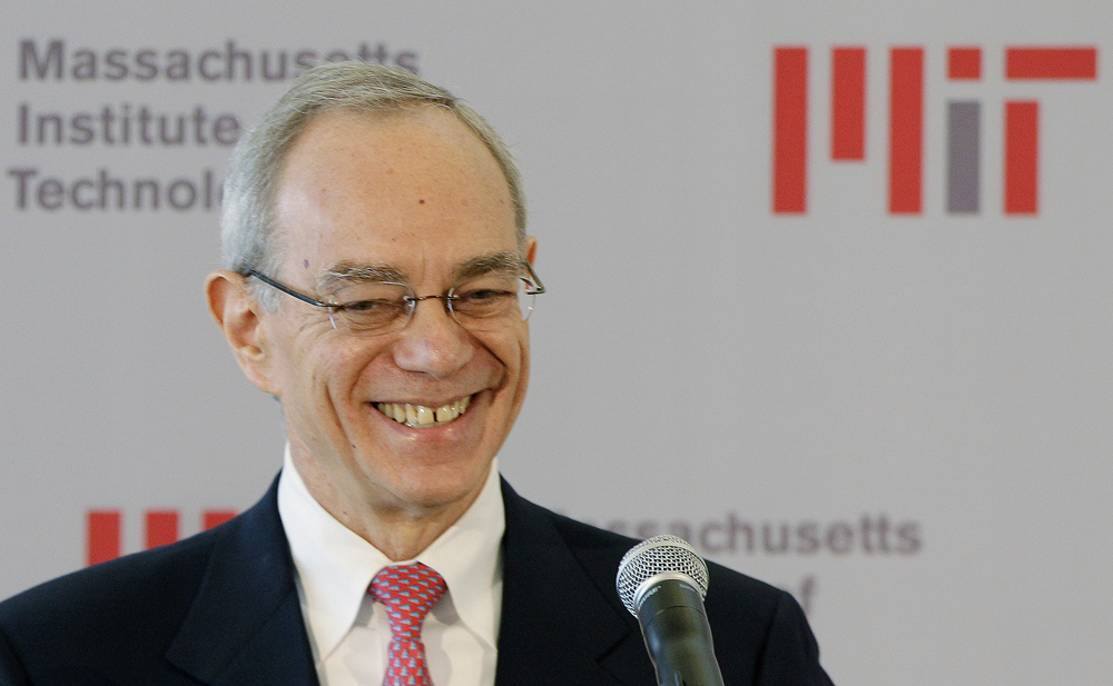 L. Rafael Reif smiles as he addresses a news conference after he was announced as the 17th president of the Massachusetts Institute of Technology in Cambridge, Mass., Wednesday, May 16, 2012. Reif was elected to the post Wednesday morning by the MIT Corporation and will assume the presidency on July 2, 2012. (AP Photo/Stephan Savoia)