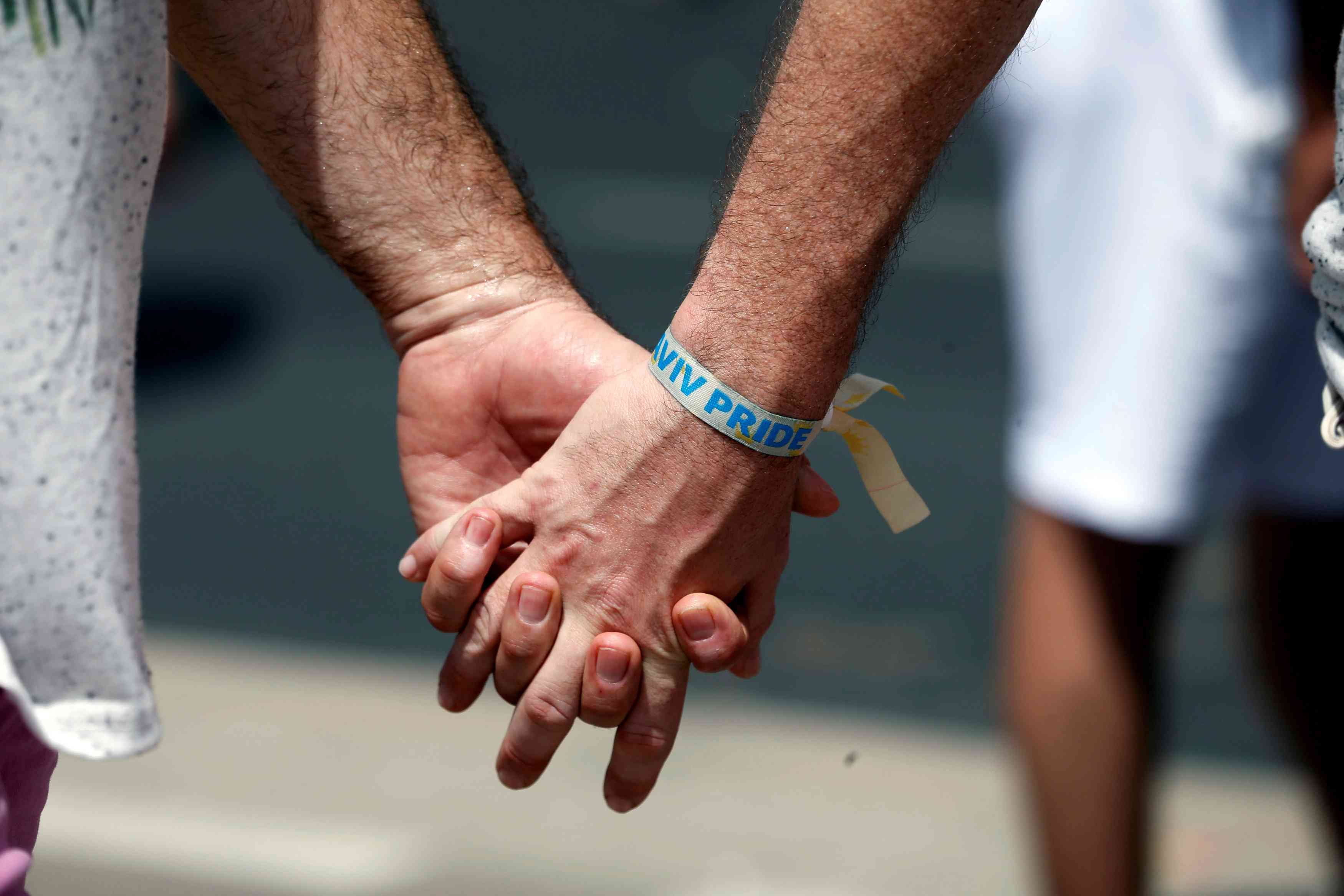 Two man hold hands as they take part in a gay pride parade in Tel Aviv, Israel, June 3, 2016. REUTERS/Baz Ratner