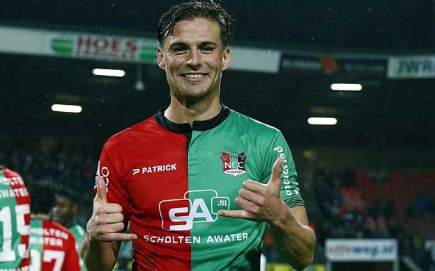 Christian Santos of NEC during the Dutch Eredivisie match between NEC Nijmegen and FC Twente at the Goffert stadium on January 27, 2016 in Nijmegen, The Netherlands(Photo by VI Images via Getty Images)